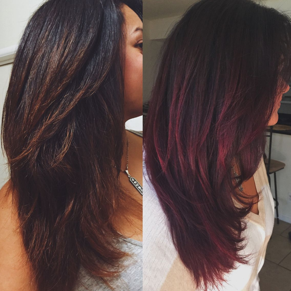 Before And After Was An Auburn Ombre That Faded Beautifully To A Light Brown Carmel Blonde But Decided To T Hair Color Burgundy Burgundy Hair Black Hair Dye
