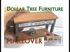 Dollar Tree to Luxury Miniature Furniture Makeover DIY Industrial Console Table - YouTube #miniaturefurniture