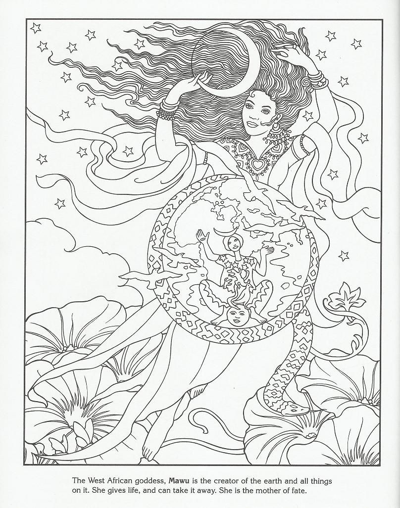Mawa West African Goddess Creator Of The Earth Coloring  Mandala