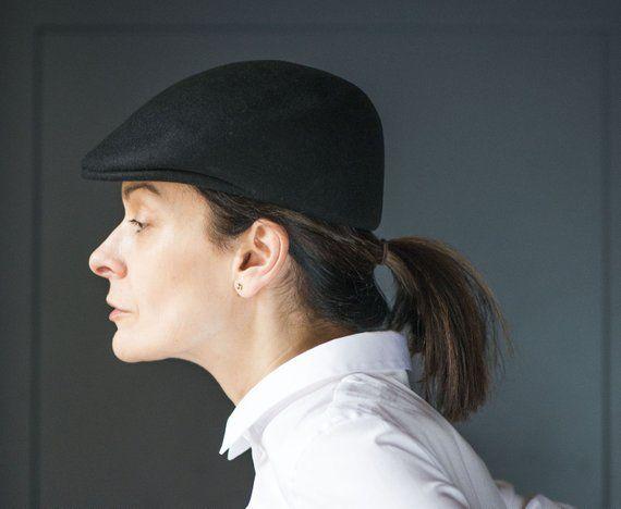 Ascot cap black unisex hat vintage. Felt wool cuffley cap. Lippincott cap  vintage size 54. Felt flat cap wool Italy made. Retro fashion gift 1ff3d176adef