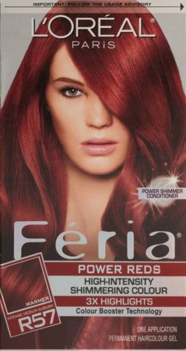 Lu0026#39;OREAL - Feria Power Reds Hair Color R57 Intense Medium Auburn/Cherry Crush | Auburn Red Hair ...