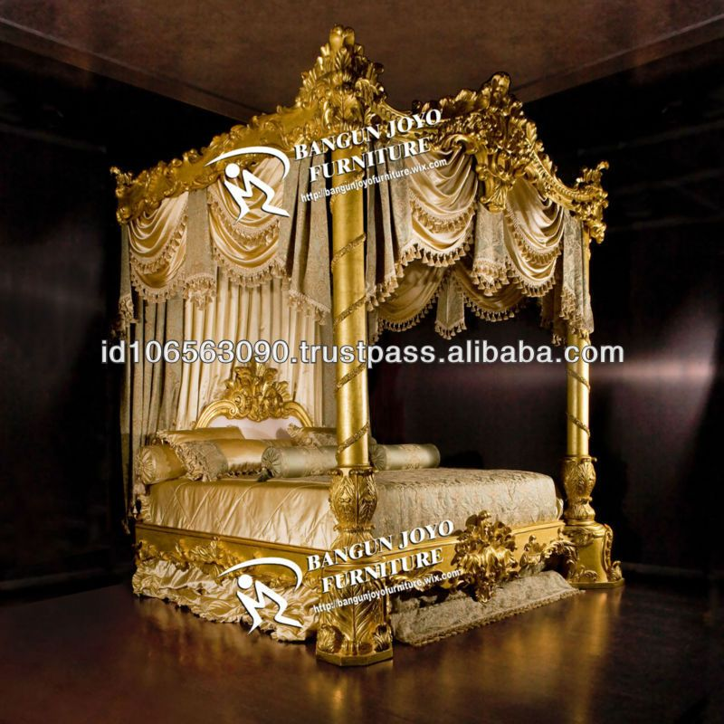 Antique Furniture Wood Canopy Carved Bed With Gold Leaf Bj Rc03   Buy  Luxury Royal Bed With Gold Leaf Italian Design,King Carving Bed Canopy, Antique Hand ...