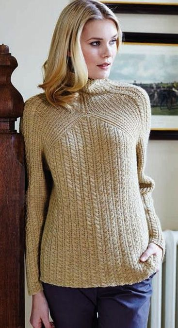9873f594f Free knitting pattern for Cable and Rib pullover sweater by Debbie Bliss.  Sizes…