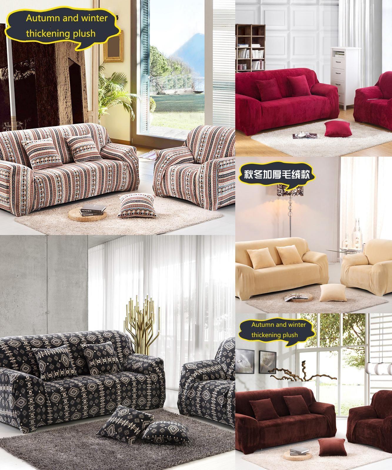 Visit to Buy] Thick Velvet Plush Sofa Slipcover Warm Pixel Stretch