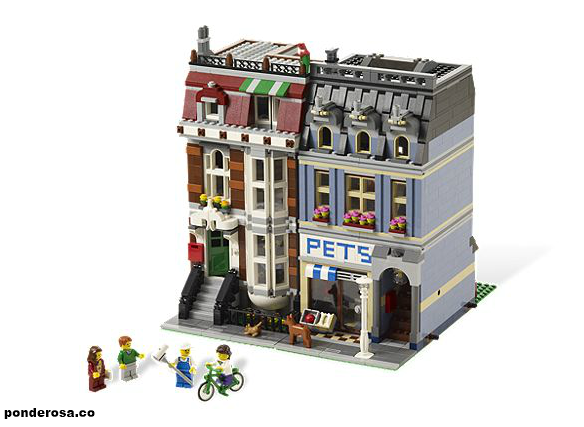 Lego Pet Shop    Build a pad for pampered pets in a 3-story shop with style! Continuing the LEGO® Modular Buildings series, this highly detailed, 3-story Pet Shop building and townhouse with full internal and external detailing is the perfect addition to your LEGO town. Greet customers with a menagerie of pets and let them http://ponderosa.co/lego/lego-pet-shop/