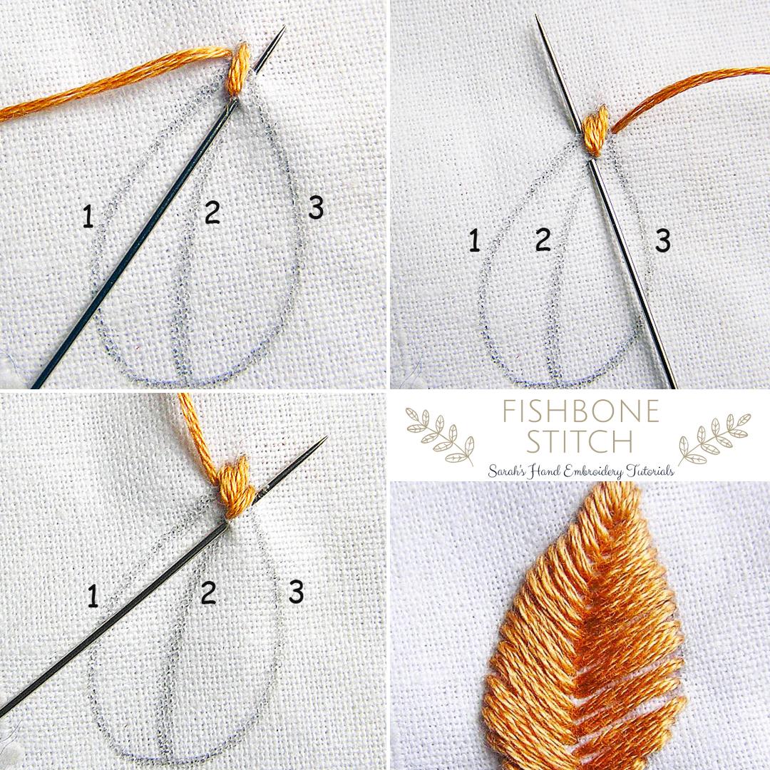 How to do Fishbone Stitch   Sarah's Hand Embroidery Tutorials ...