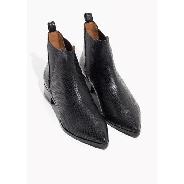 Chelsea Boots (€125) ❤ liked on Polyvore featuring shoes, boots, ankle booties, pointed ankle booties, pointy-toe boots, pointed-toe boots, pointed booties and chelsea boots