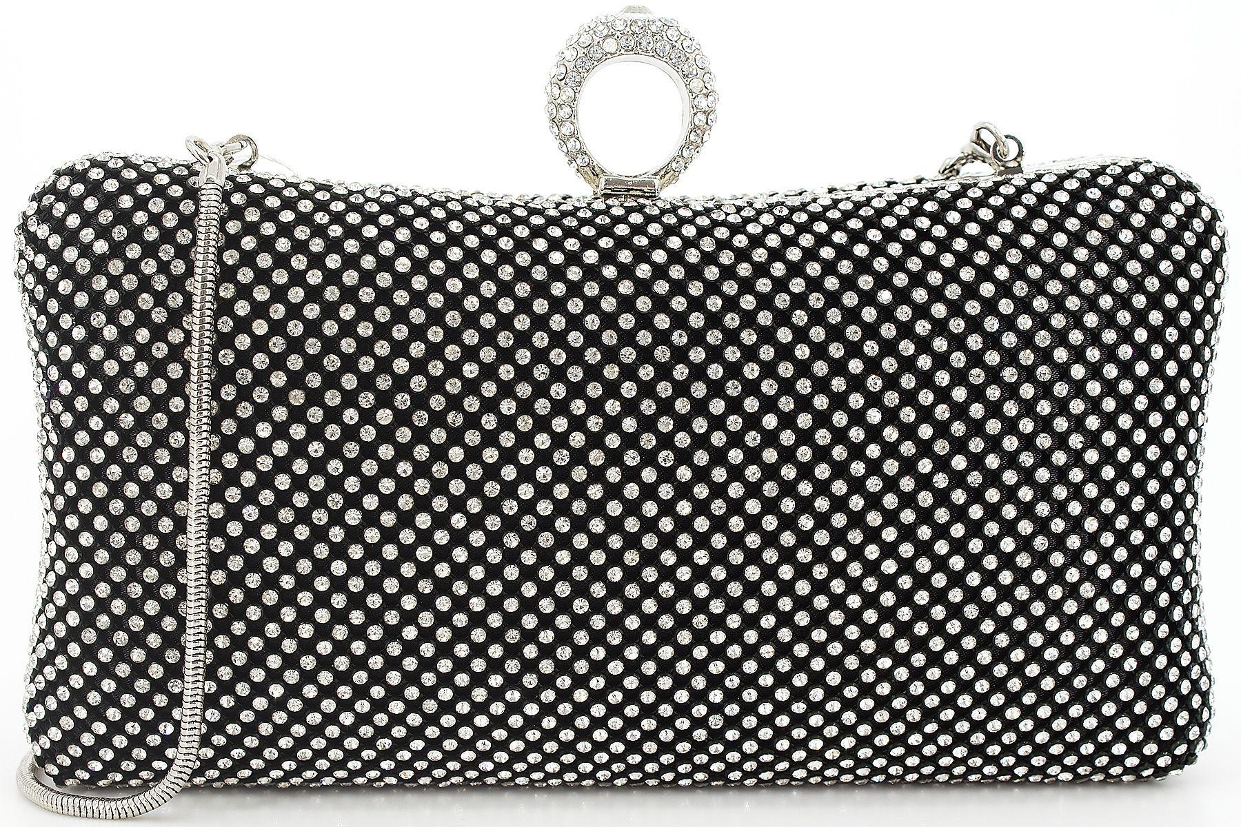 56a776d2f7 Dexmay Ring Rhinestone Crystal Clutch Purse Luxury Women Evening Bag for  Bridal Wedding Party Black