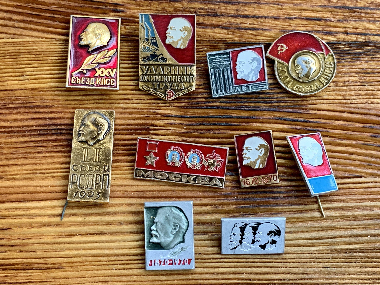 Lenin Badges Cold War Communism Lot of 10 pcs with Lenin USSR Soviet Era Enamel Pins