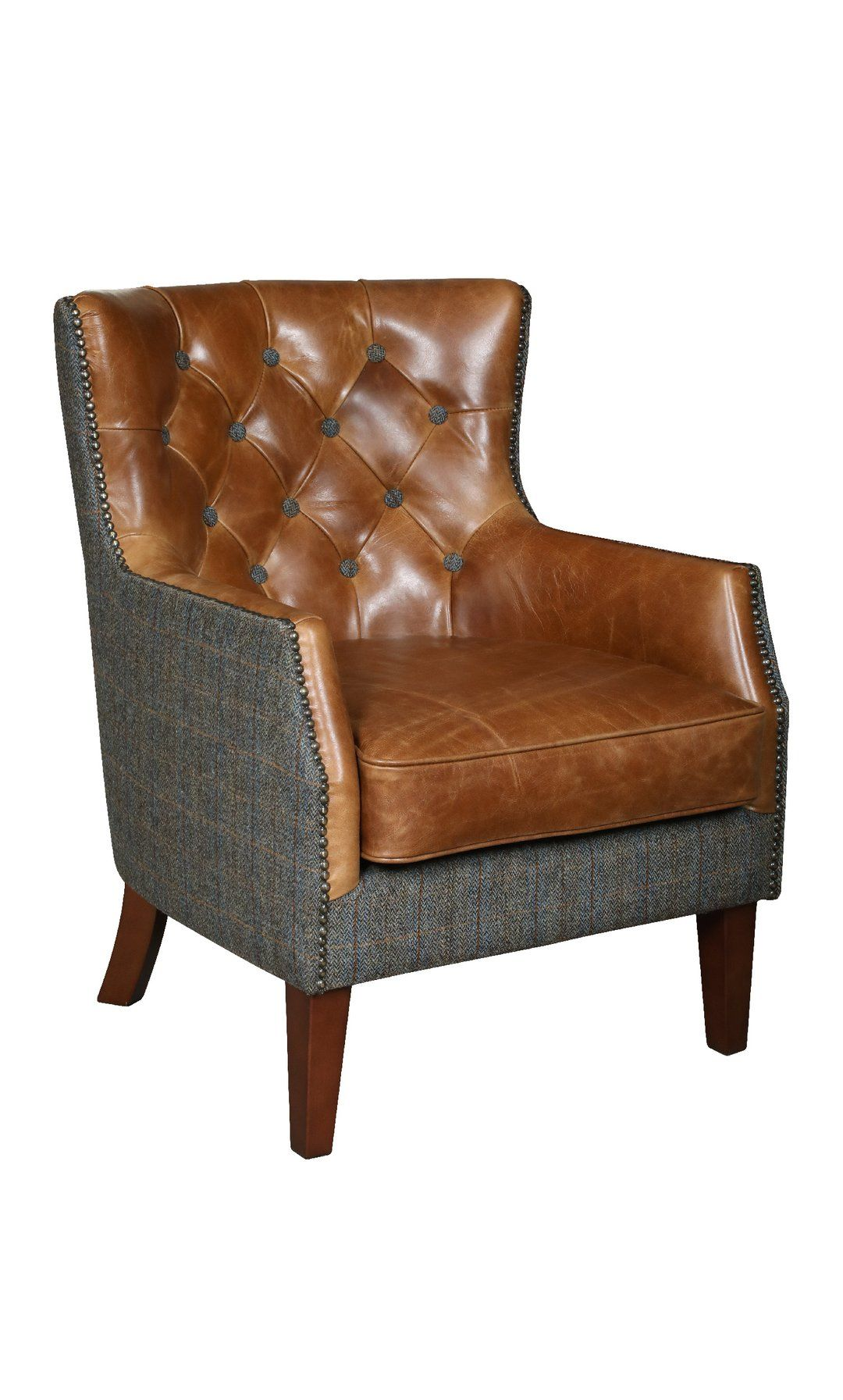 Stanford Harris Tweed and Leather Accent Chair. in 2020