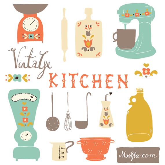 Retro Kitchen Illustration: Vintage Kitchen Clip Art Set.