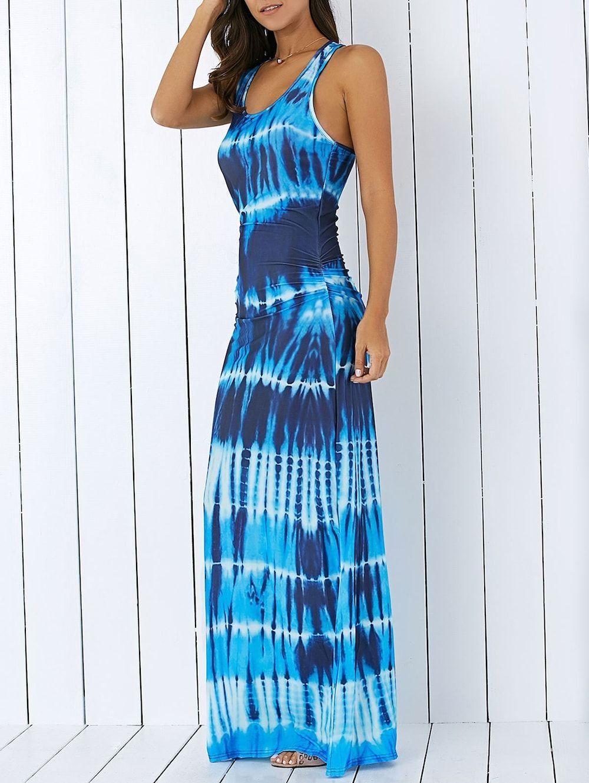 Bohemian Tie-Dye Illusion Print Racerback Long Tank Dress | Tank ...