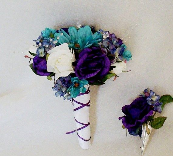 Teal Wedding Bouquet Purple Boutonniere Teal Wedding Teal