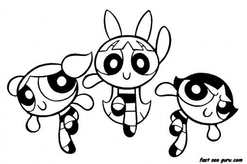 Printable Powerpuff Girls Bubbles Blossom Buttercup Coloring
