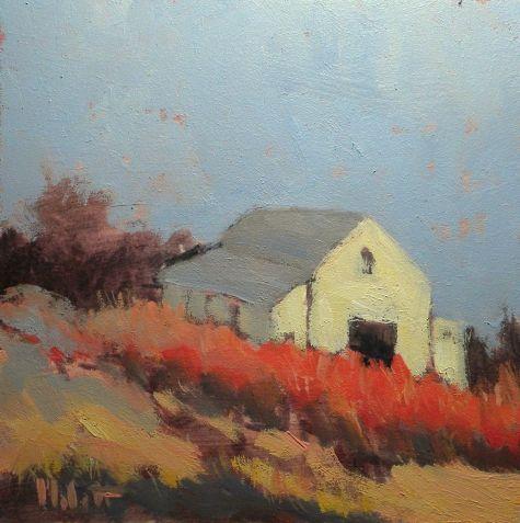 White Barn Autumn Landscape Oil Painting, painting by artist Heidi Malott