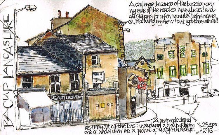 A #scribble from the weekend #lancashire #bacup #watercolour #penandink #lizackerley #lizsscribbles | por Liz Ackerley Scribbles