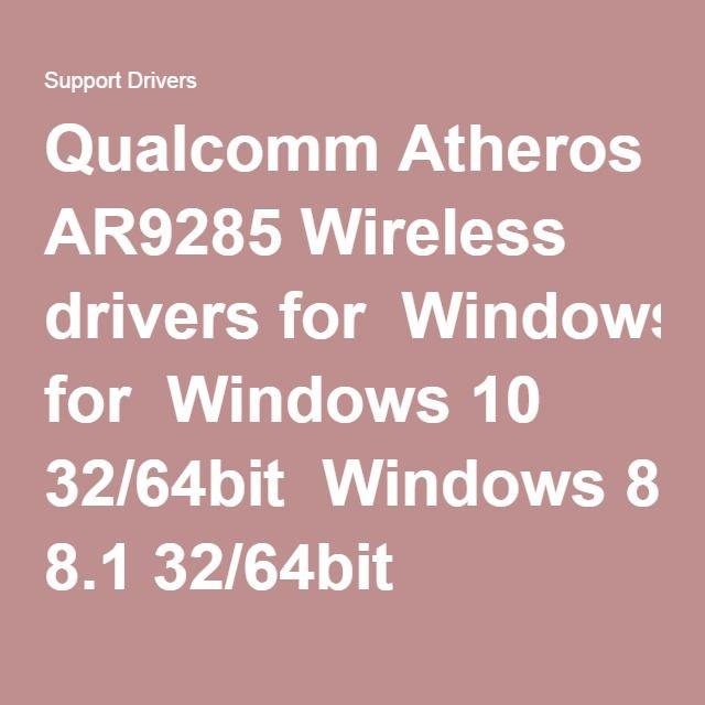 Atheros Ar9285 Wireless Driver