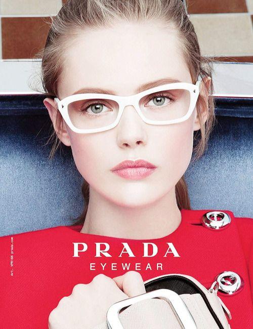 196e044d3d4f leave it to Prada to make white glasses so chic! #eyestyle #white ...
