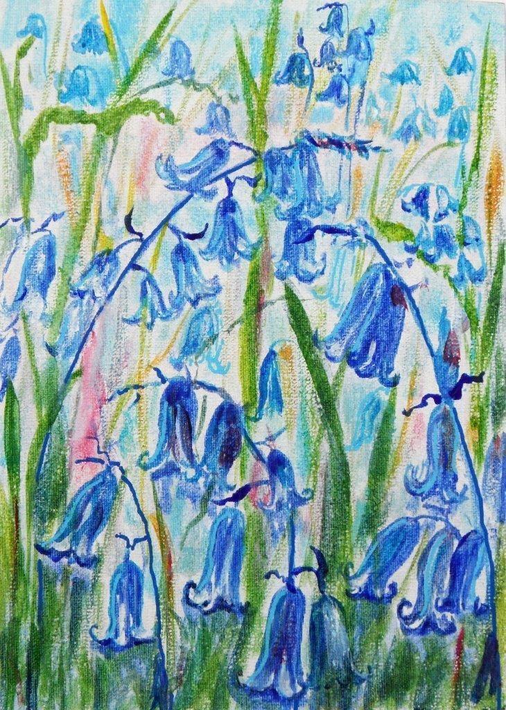 Original Acrylic Painting on Canvas Board: BLUEBELLS | eBay