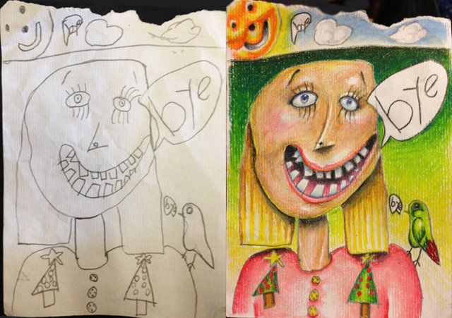 Dad Colors Kid's Drawings While Away On Business