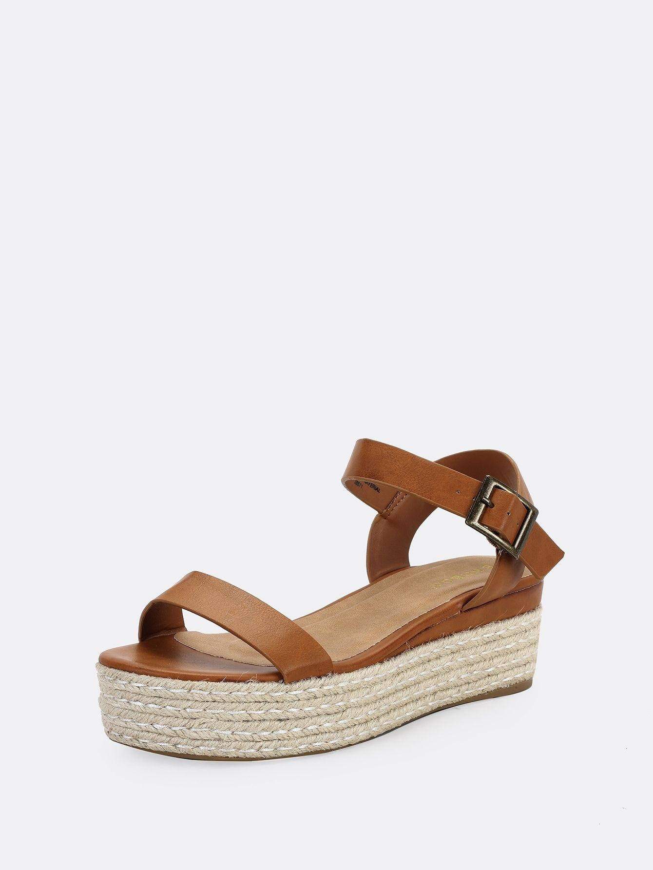 Open Sandals Casual Toe One Band Jute Flatform Brown Trimmed Buckle nyv0wPNm8O