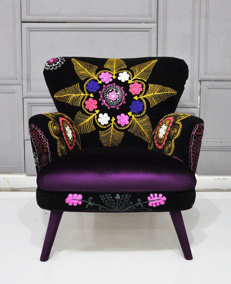 Patchwork Armchair With Suzani And Dark Purple Velvet