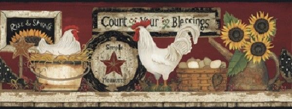 COUNT YOUR BLESSINGS WALLPAPER BORDER Primitive FARMHOUSE