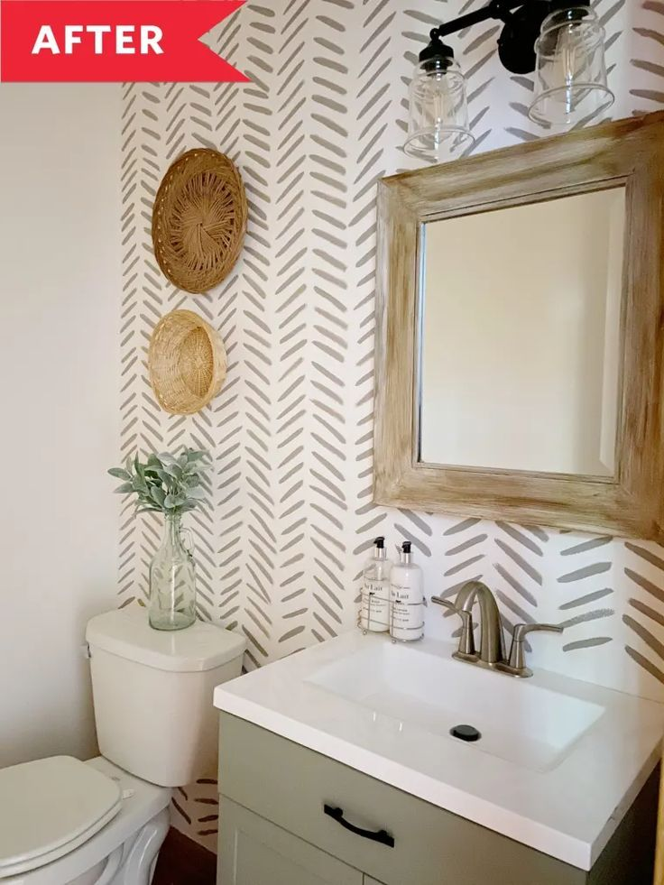 Before And After This High Impact Powder Room Overhaul Cost Just 65 Bathroom Decor Apartment Room Bathroom Makeover 4th of july bathroom decor