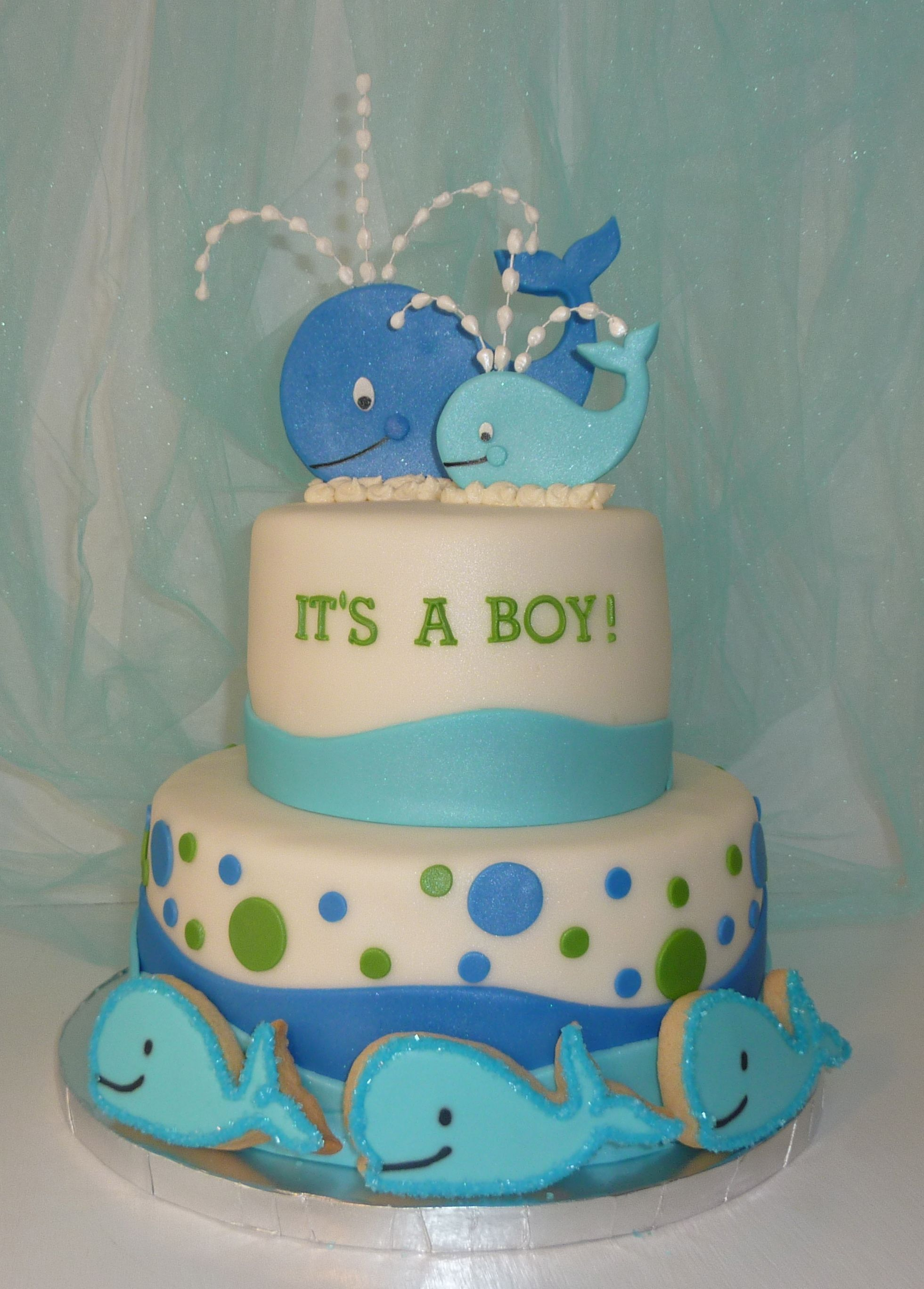 Superior Baby Shower Whale Theme Cake With Matching Cookies