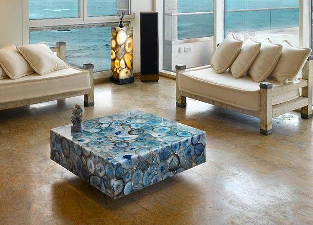 Blue Agate Console Agate Table Agate Decor Coffee Table