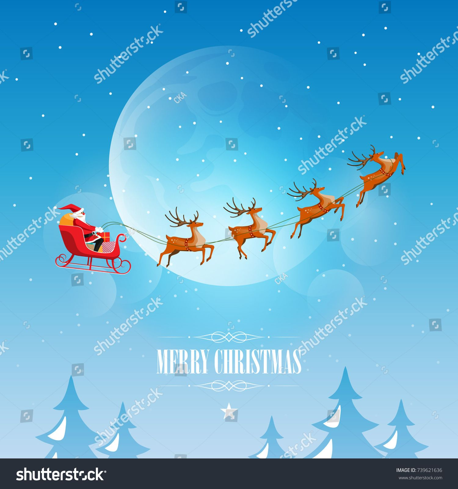 Merry Christmas and Happy New Year, Santa Claus drives sleigh with ...