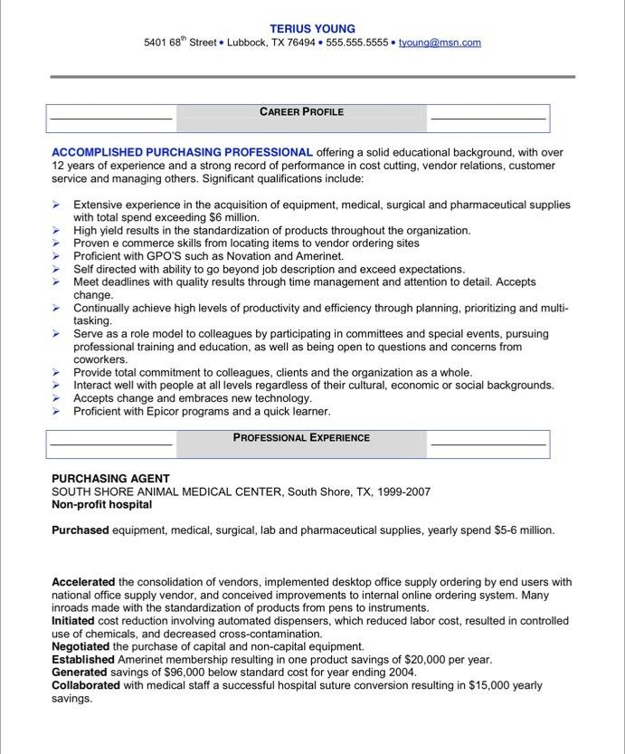 Procurement Resume Examples Procurement Buyer Resume Sample After