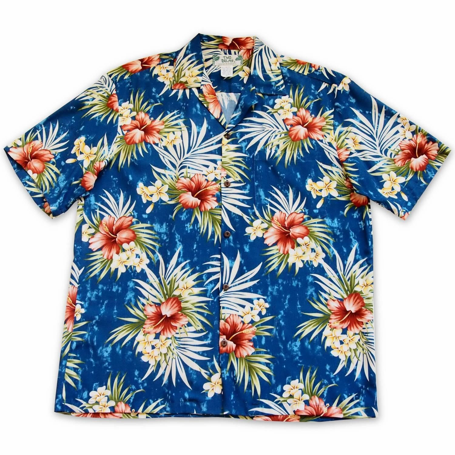 Hibiscus Isles Blue Hawaiian Rayon Shirt Blue Hawaiian Hibiscus