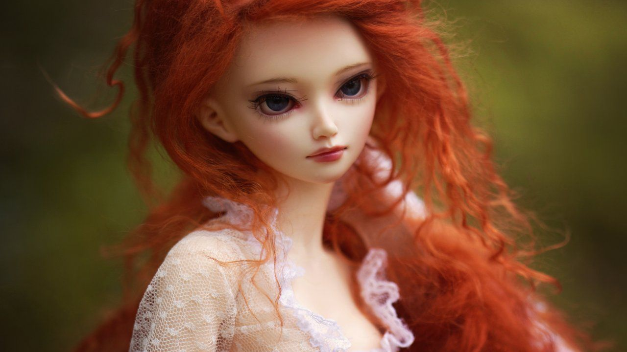 Beautiful Doll With Long Colorful Hair Style Big Eyes Jpg Red Hair Doll Beautiful Toys Beautiful Dolls