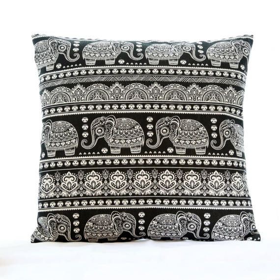 Indian Elephant Pillow Cover Black And White Pillow Cover Elephant Pillow Elephant Pillow Cover White Pillow Covers