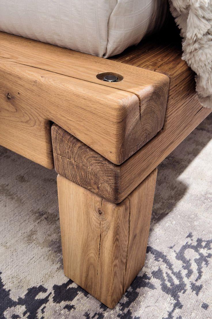 Balkenbett Iv Aus Der Kollektion Letz Bett Wildeiche Geölt Wood Joinery Wood Bench Outdoor Wood Diy