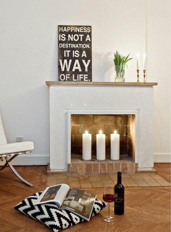Deko Kamin Romantische Stimmung Mit Kerzen Und Laternen Offener