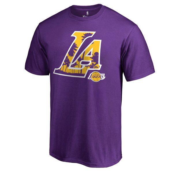 Los Angeles Lakers Fanatics Branded Hometown Collection Sunset Blvd T-Shirt  - Purple - Fanatics