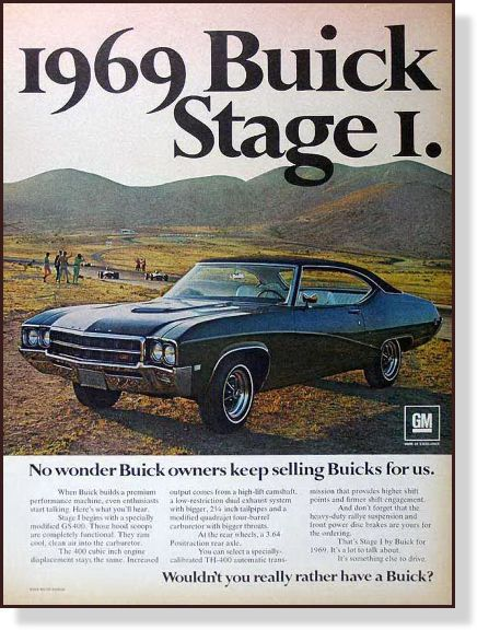 1969 Buick  GS Stage I vintage  print  AD