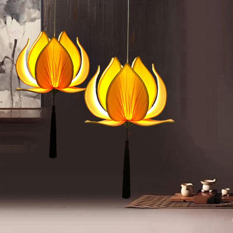 New Chinese Fabric Lotus Led Pendant Lights Lamp Classical