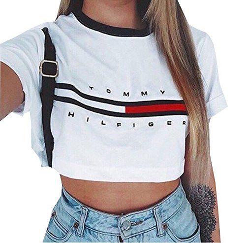 Greatgorgeous Damen T Shirt Einfarbig Gr Small Weiss Weiss Fashion Clothes Tommy Hilfiger Crop Top