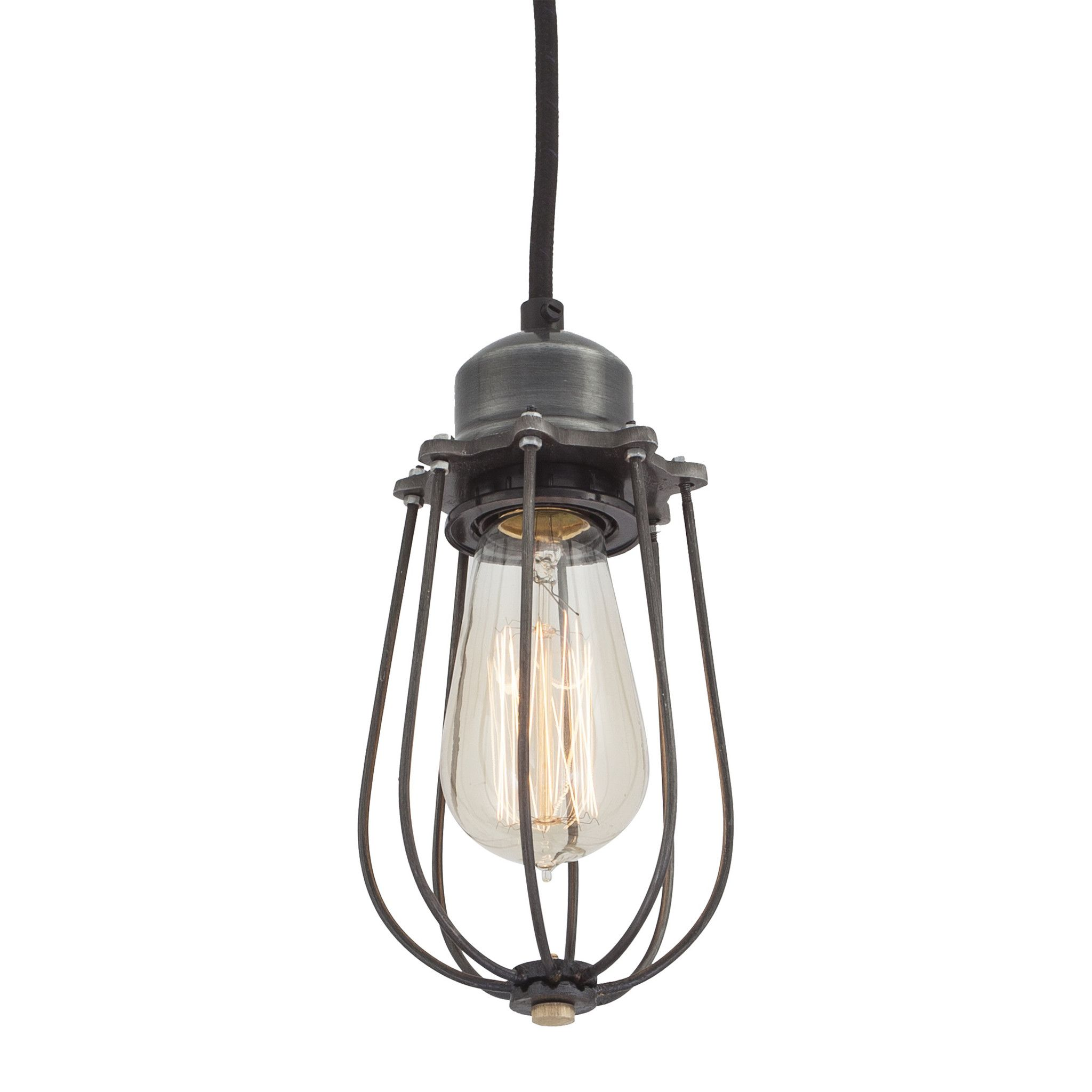 Pad lifestyle brooklyn drop cage pendant light paired back vintage