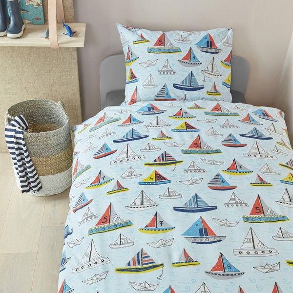 Set Sail With This This Gorgeous 100 Cotton Blue Boat Themed Bedding Set Boys Duvet Cover Duvet Cover Sets