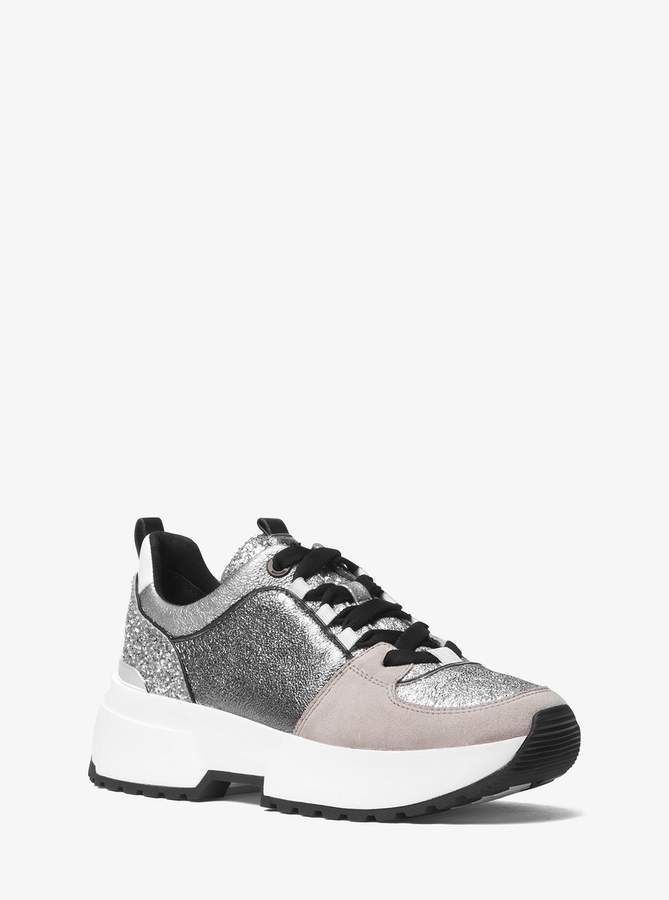 82aa20dd5a6 MICHAEL Michael Kors Cosmo Metallic and Glitter Trainer