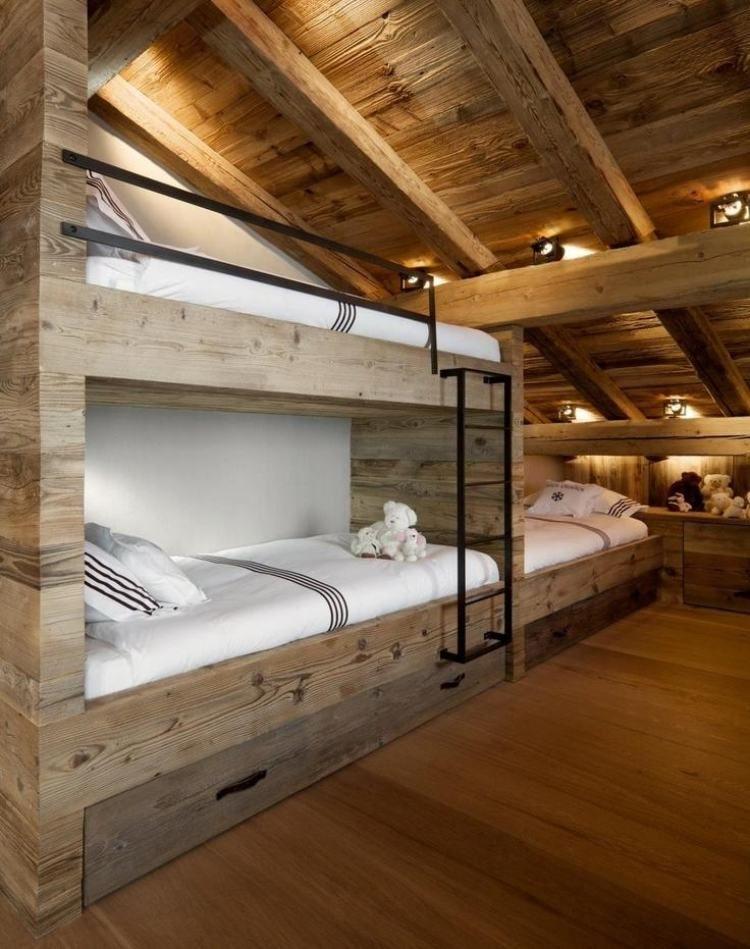 hochbett und raumgestaltung aus holz mit angenehmem licht. Black Bedroom Furniture Sets. Home Design Ideas