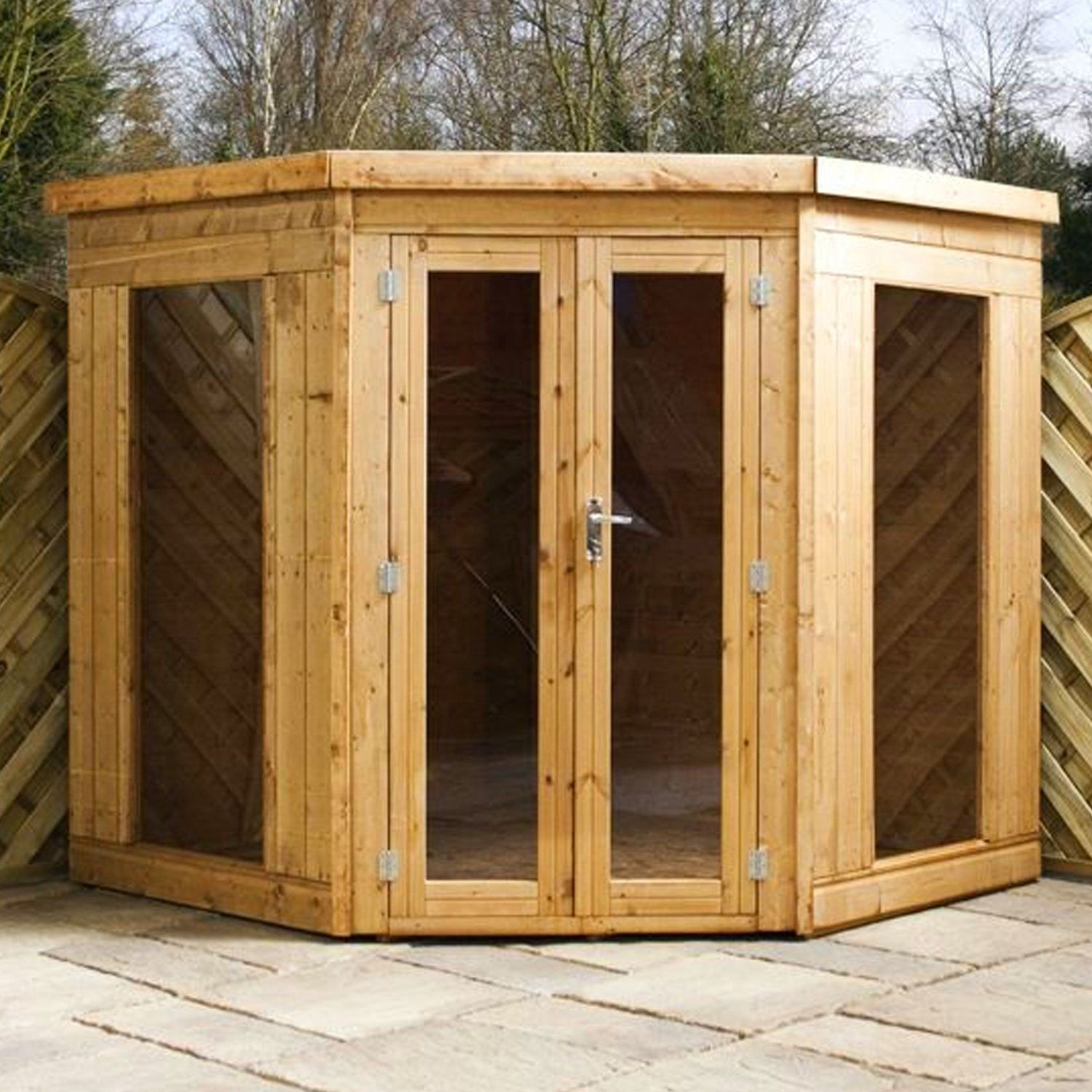 7ft x 7ft Contemporary Corner Shiplap Apex Wooden Garden Summerhouse ...
