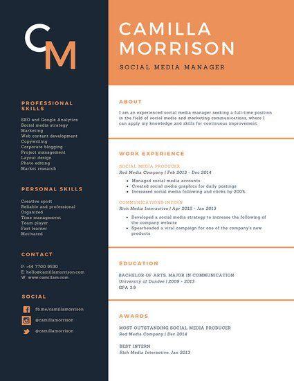 Blue And Orange Formal Academic Resume  Resume