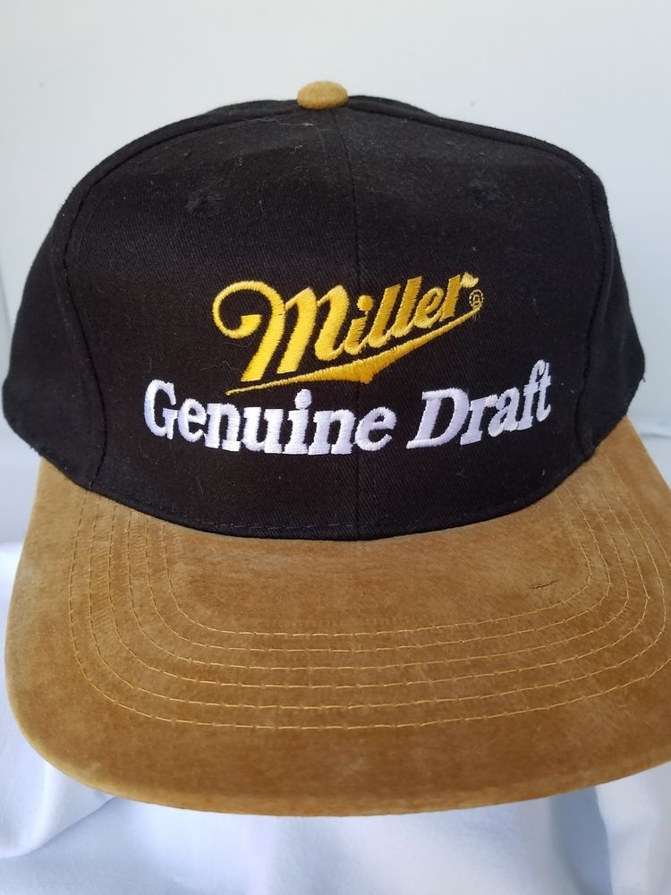 b529184ea15 Vintage Miller Genuine Draft Beer Ball Cap Trucker Snapback Part Suede  Black  MillerLiteGenuineDraft  BaseballCap