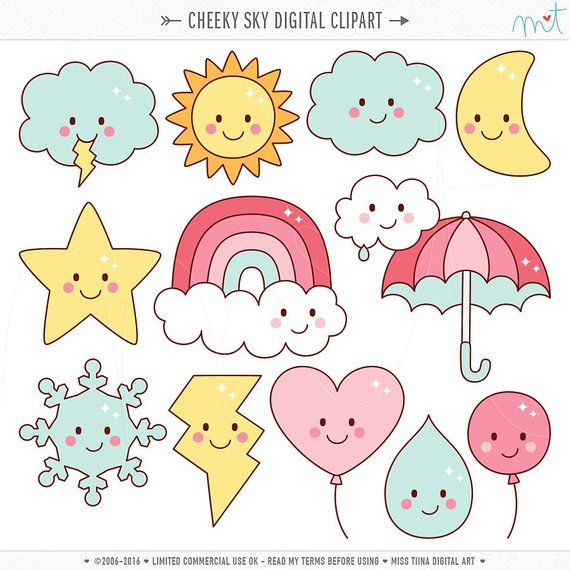Cheeky Sky Digital Clipart Clip Art Illustrations - instant download - limited commercial use ok #illustrationart