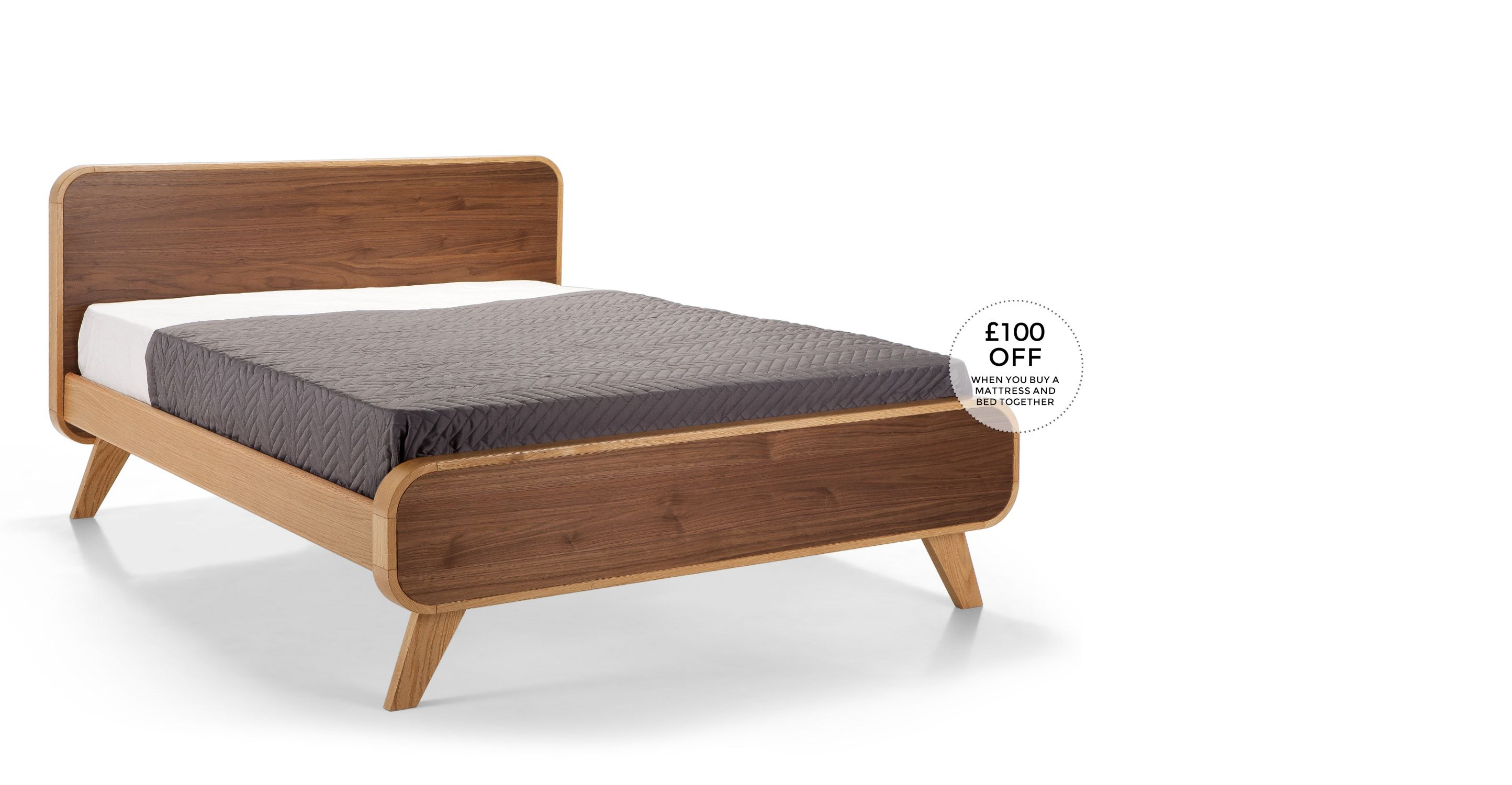 Fonteyn 160cm X 200cm Euro King Size Bed Oak And Walnut Bed Furniture Furniture Walnut Bed